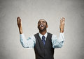 Excited happy man celebrates success, good outcome Royalty Free Stock Photo