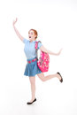Excited high school teen schoolgirl or college student with back education to series friendly caucasian woman backpack in uniform Stock Photos