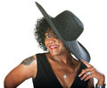 Excited lady in large hat mature woman with and tattoo Royalty Free Stock Photo