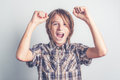 Excited little funny boy for success Stock Image