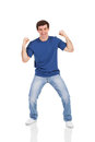 Excited man isolated on white background Stock Photos