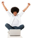 Excited man with a laptop Royalty Free Stock Photo