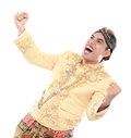 Excited man wearing traditional of java celebrating success isolated on white background Royalty Free Stock Photos