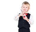 Excited painting boy isolated on white background Royalty Free Stock Photography