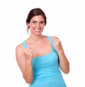 Excited pretty woman gesturing winning celebration portrait of an young with hands against isolated background Stock Photography