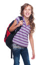 Excited pupil holding knapsack Royalty Free Stock Images
