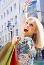 Excited shopping woman Royalty Free Stock Image