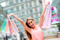 Excited shopping woman holding bags with arms up Stock Images