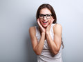 Excited surprising fun young woman with open mouth in glasses Royalty Free Stock Photo