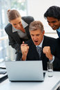 Excited team of business people working together Royalty Free Stock Photos