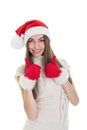 Excited teenage girl with santa hat showing thumbs up cute caucasian smiling looking at camera isolated on white background Royalty Free Stock Photos