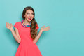 Excited Vibrant Woman Looking Away Royalty Free Stock Photo