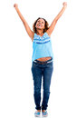 Excited woman with arms up isolated over a white background Royalty Free Stock Photography