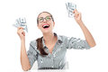 Excited woman holding money young over white background Royalty Free Stock Images