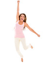 Excited woman jumping and celebrating Royalty Free Stock Photos