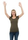 Excited woman posing with arms up young beautiful sexy female blank shirt and raised in the air ready for your design or artwork Royalty Free Stock Photography
