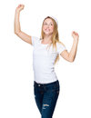 Excited Woman with red christmas hat raised two hand up Royalty Free Stock Photo