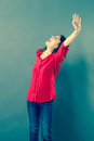 Excited woman shouting with euphoric body language Royalty Free Stock Photo