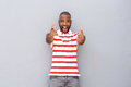 Excited young african man pointing Royalty Free Stock Photo