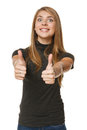 Excited young success woman giving thumbs up over white background Stock Photography