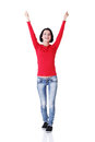 Excited young woman with fists up Royalty Free Stock Photos