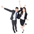 Exciting business man and woman men full length portrait isolated on white background Stock Photo