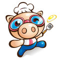 Exciting Rhythm of Chef Pig Royalty Free Stock Photos