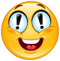 Exclamation emoticon with marks in his eyes Royalty Free Stock Image