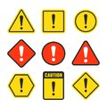 Exclamation mark beware icons. Attention and caution signs. Hazard warning vector symbol isolated Royalty Free Stock Photo