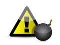 Exclamation mark and black bomb isolated on white Stock Photos