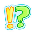Exclamation mark and question cute cartoon Stock Photos