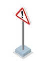 Exclamation Mark Road Sign Vector Illustration. Royalty Free Stock Photo