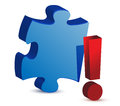 Exclamation puzzle piece Stock Photography
