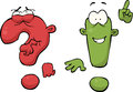 Exclamation and question marks cartoon Stock Image
