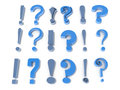Exclamation question marks registration information associated signs Royalty Free Stock Images