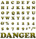 Exclusive collection letters with danger stripes Stock Photography