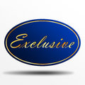 Exclusive label blue striped with golden text Royalty Free Stock Images