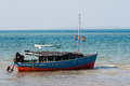 Excursion boat at the coast. Royalty Free Stock Photo