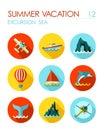 Excursion sea flat icon set. Summer. Vacation
