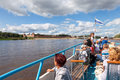 Excursion ship on the volhov river in veliky novgorod russia august is russian cultural heritage Royalty Free Stock Photos