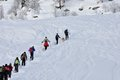 Excursion on the snow valsesia alps in winter Stock Images