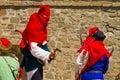 Executioner on historical festival in sudak stronghold genoa helmet Royalty Free Stock Photo