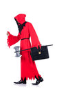 Executioner red costume axe white Stock Image