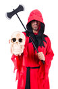 Executioner red costume axe white Stock Images