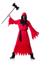 Executioner in red costume with axe on white Stock Photography