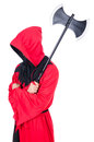 Executioner in red costume with axe on white Royalty Free Stock Image