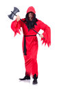 Executioner in red costume with axe on white Royalty Free Stock Photo
