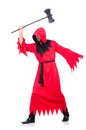 Executioner in red costume with axe on white Stock Image