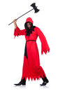 Executioner in red costume with axe on white Stock Images