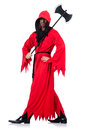 Executioner in red costume with axe on white Stock Photo